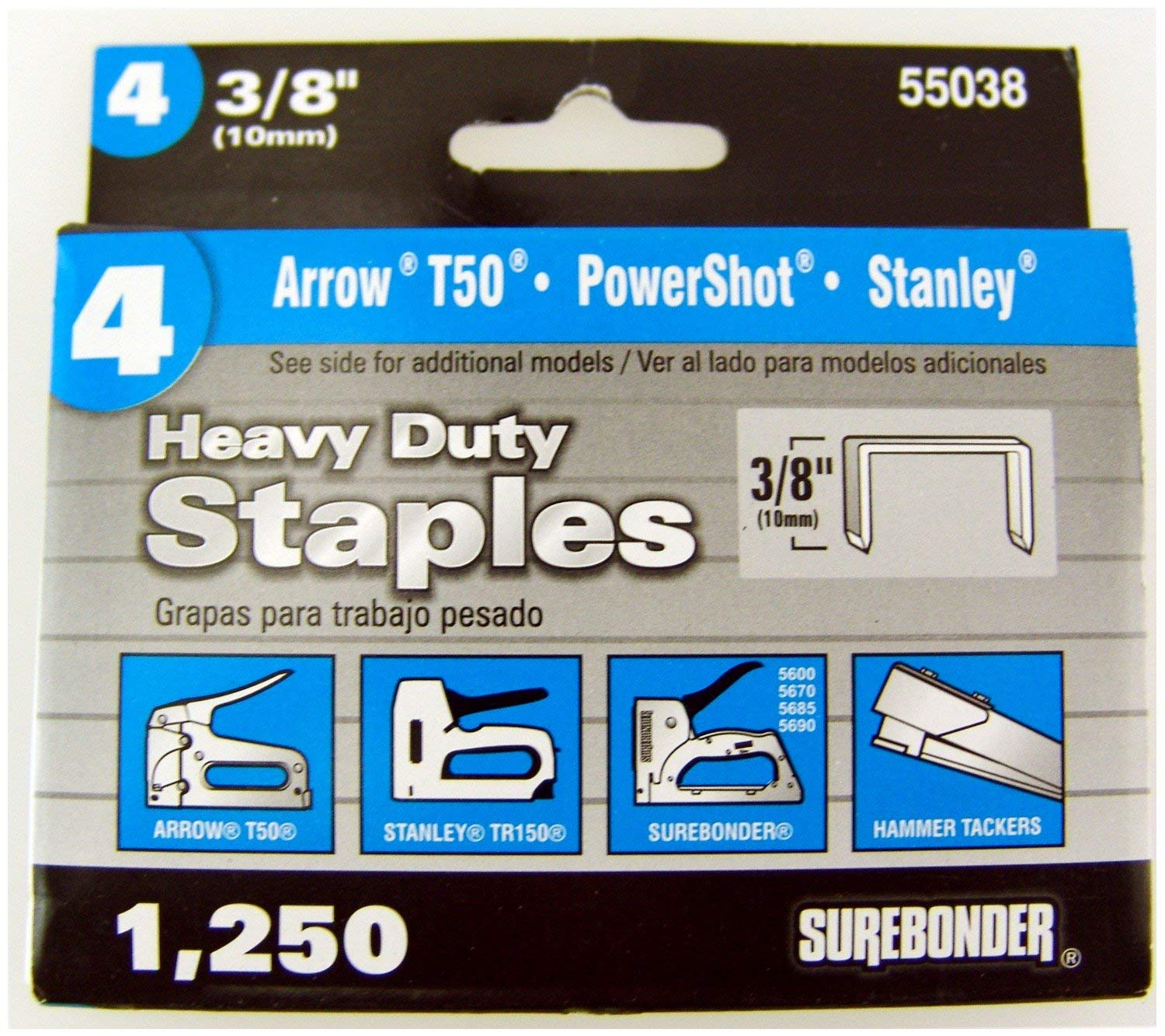Heavy Duty, Chisel Point, 3/8'' Arrow T50 Type Staple 1250 Count, 5 Pack by Surebonder (Image #1)