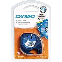 Dymo LetraTag etichette in plastica, rotolo da 12 mm x 4 m, stampa nera su bianco, S0721610