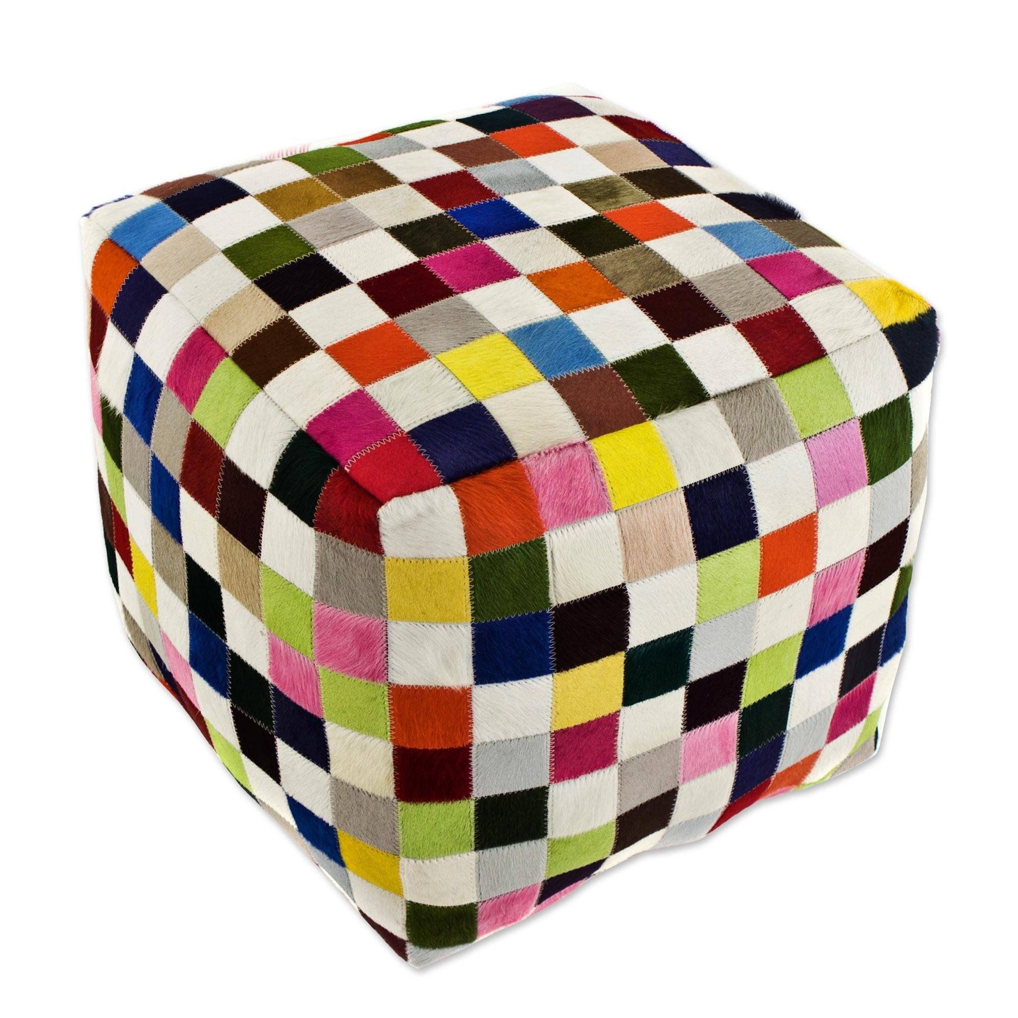 NOVICA Bohemian Leather Ottoman Covers , Multicolor, 'Carnaval Chess Cube'