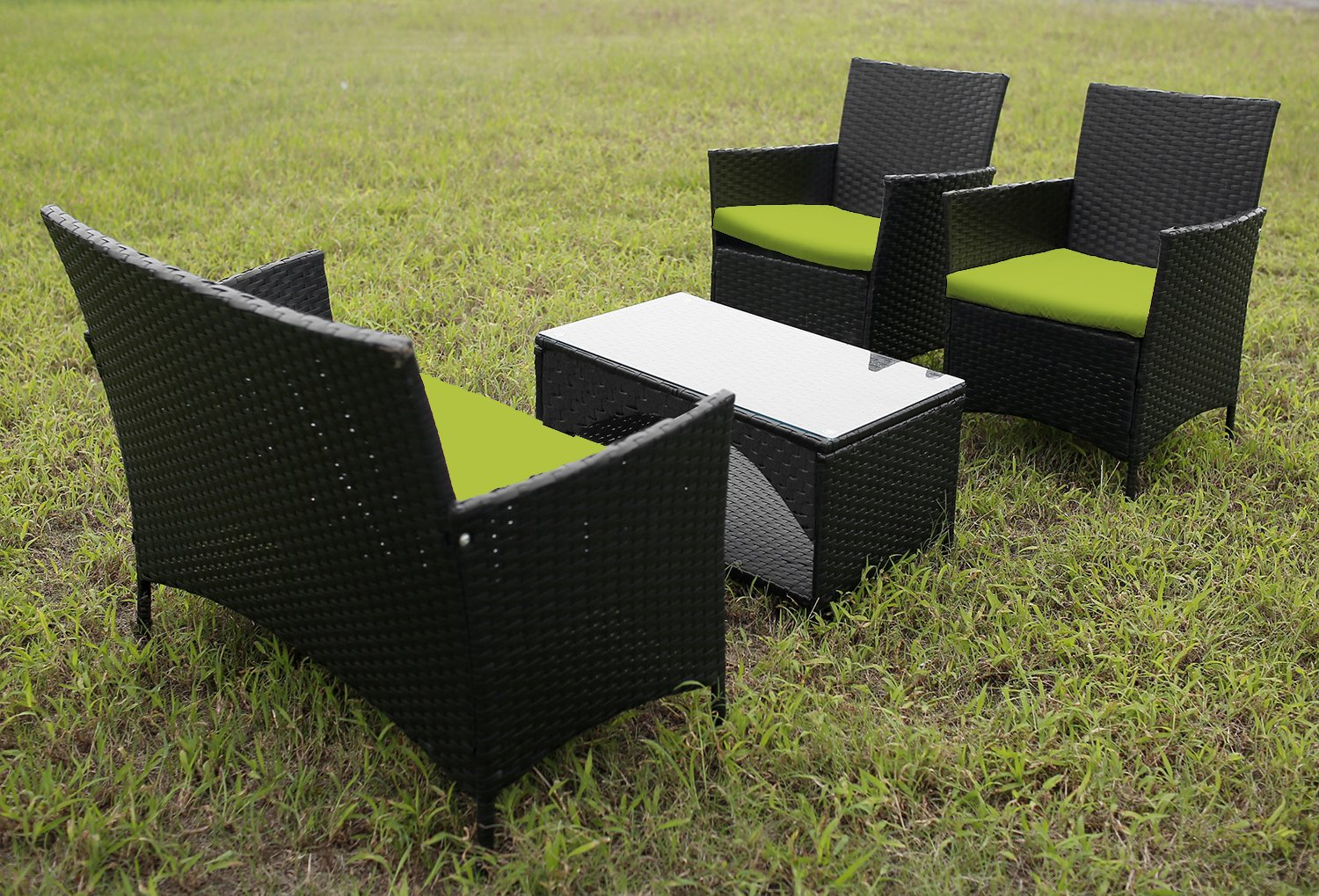 Amazon.com: Merax 4 PCS Cushioned Outdoor PE Wicker Patio Set Garden Lawn  Rattan Sofa Furniture Conversation Set (Green): Garden & Outdoor - Amazon.com: Merax 4 PCS Cushioned Outdoor PE Wicker Patio Set Garden