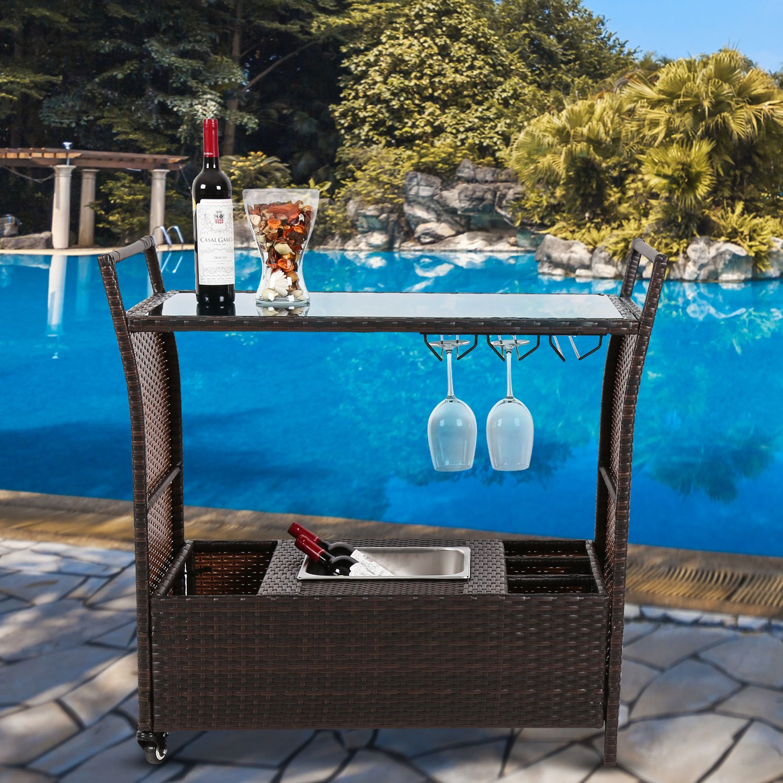 Kinbor Outdoor Patio Rattan Wicker Serving Bar Cart Rolling Portable W/Ice Bucket Wine Rack Guangbo