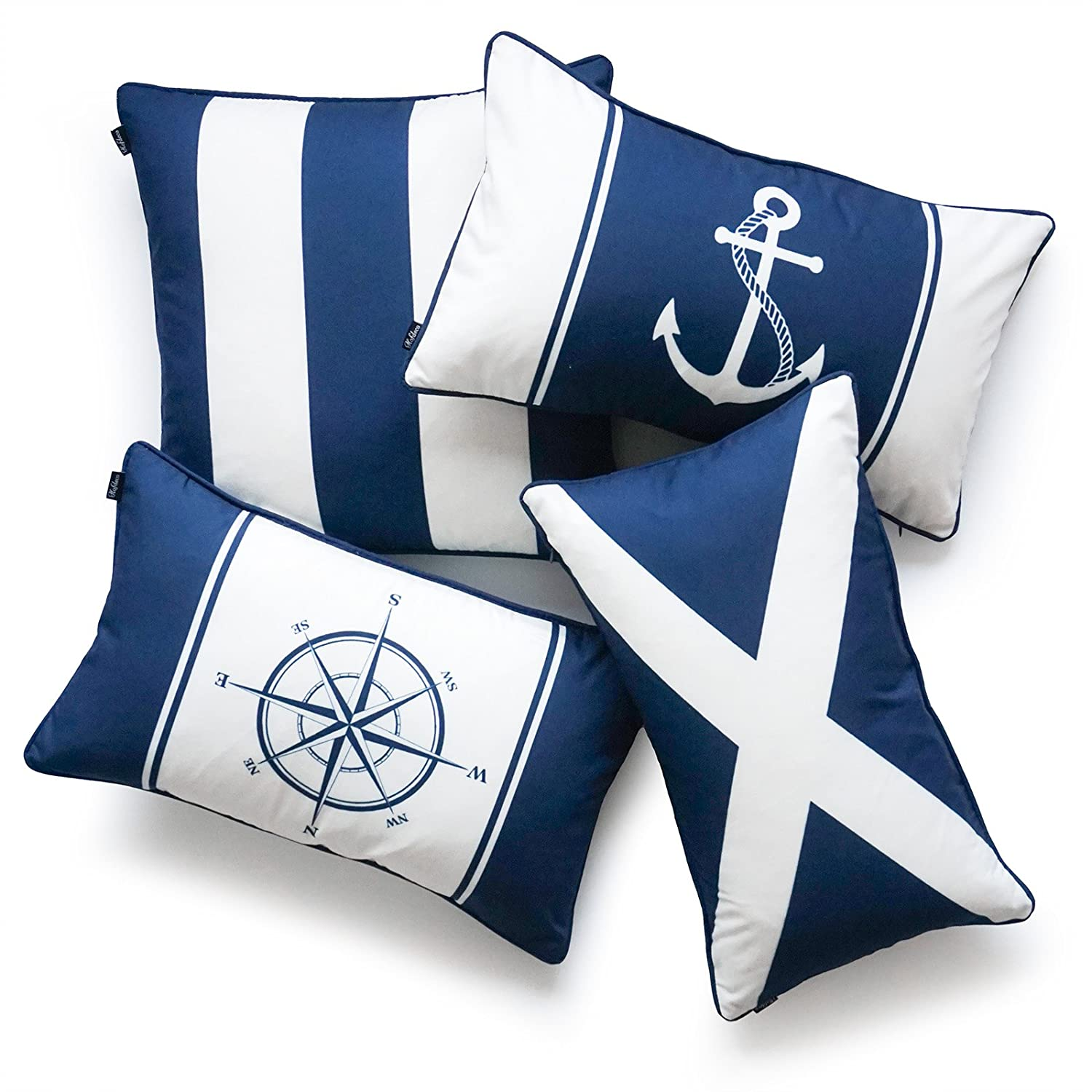 Hofdeco Nautical Indoor Outdoor Pillow Cover ONLY, Water Resistant for Patio Lounge Sofa, Navy Blue Flag Anchor Compass Stripes, 18 x18 12 x20 , Set of 4