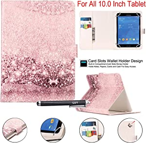 "Universal 10"" Case, Newshine Synthetic Leather Magnetic Closure [Cards/Money Slots] Flip Stand Wallet Protective Case for All Universal 10 inch Tablet, Bling"
