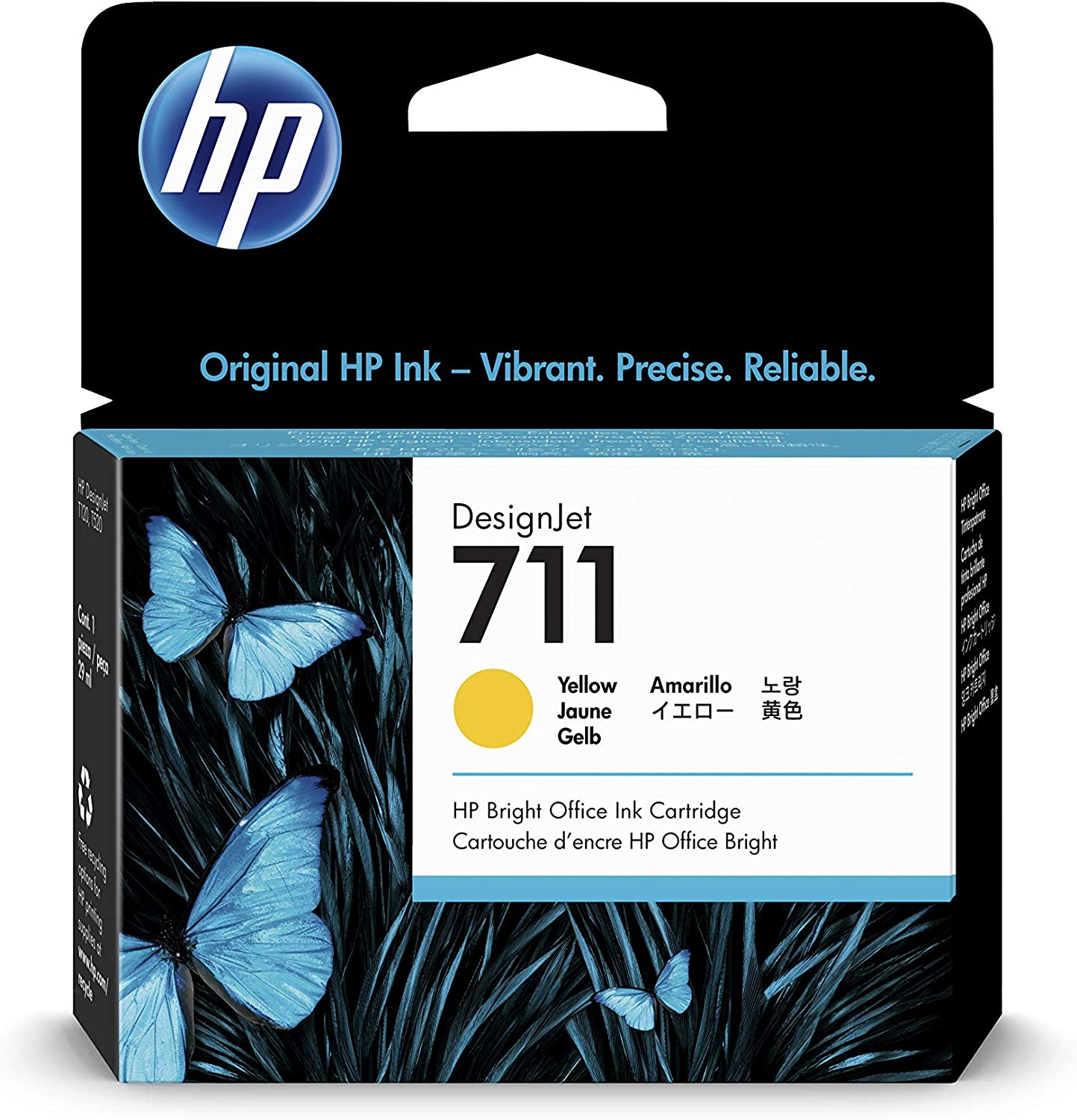 HP 711 Yellow 29-ml Genuine Ink Cartridge (CZ132A) for DesignJet T530, T525, T520, T130, T125, T120 & T100 Large Format Plotter Printers