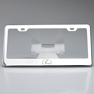 KA Depot One Polish Fit Lexus Logo Mirror Stainless Steel License Plate Frame Holder Front Or Rear Bracket Laser Engrave Steel Screw Cap: Automotive