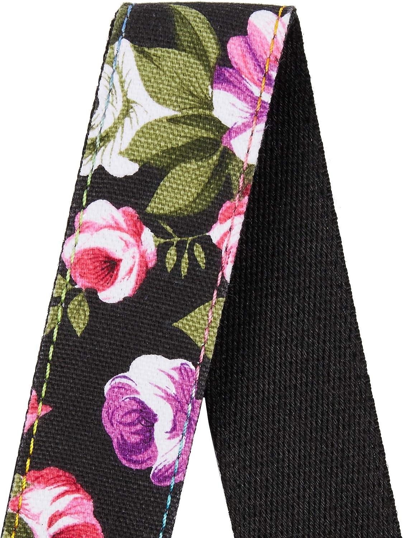 Amumu Denim Peony Ukulele Strap Leather Ends w//Headstock Tie Lace Adjustable Length from 30 to 52 for Soprano Concert Tenor Baritone Ukuleles