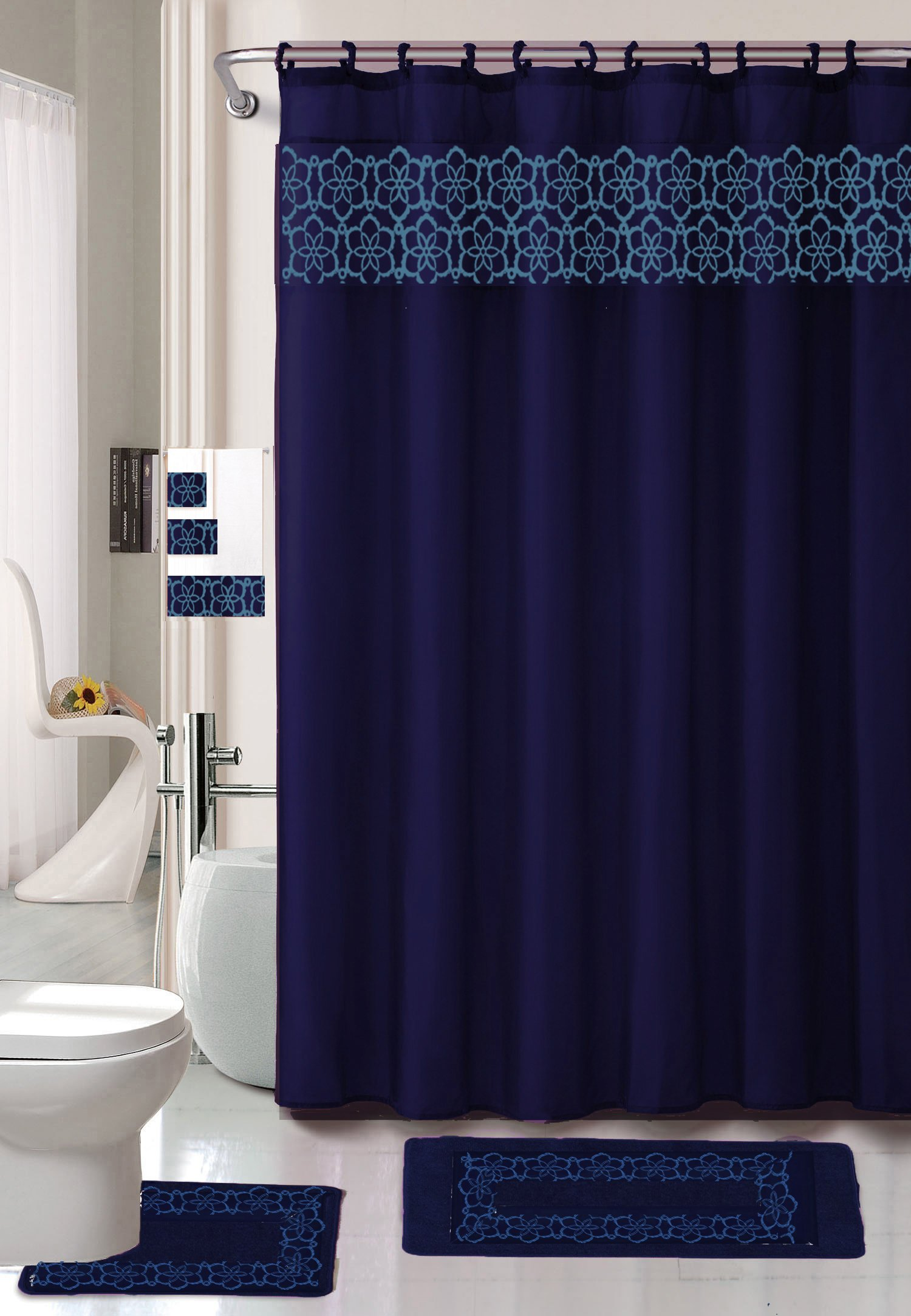 Terrific Navy Blue Shower Curtain Set Pictures - Best Picture ...
