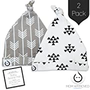 Kaydee Baby Organic Knot Beanie Hats - Set of 2 (0-12 Months) Variety of Color Options (0-6 Months, Arrows & Triangles)