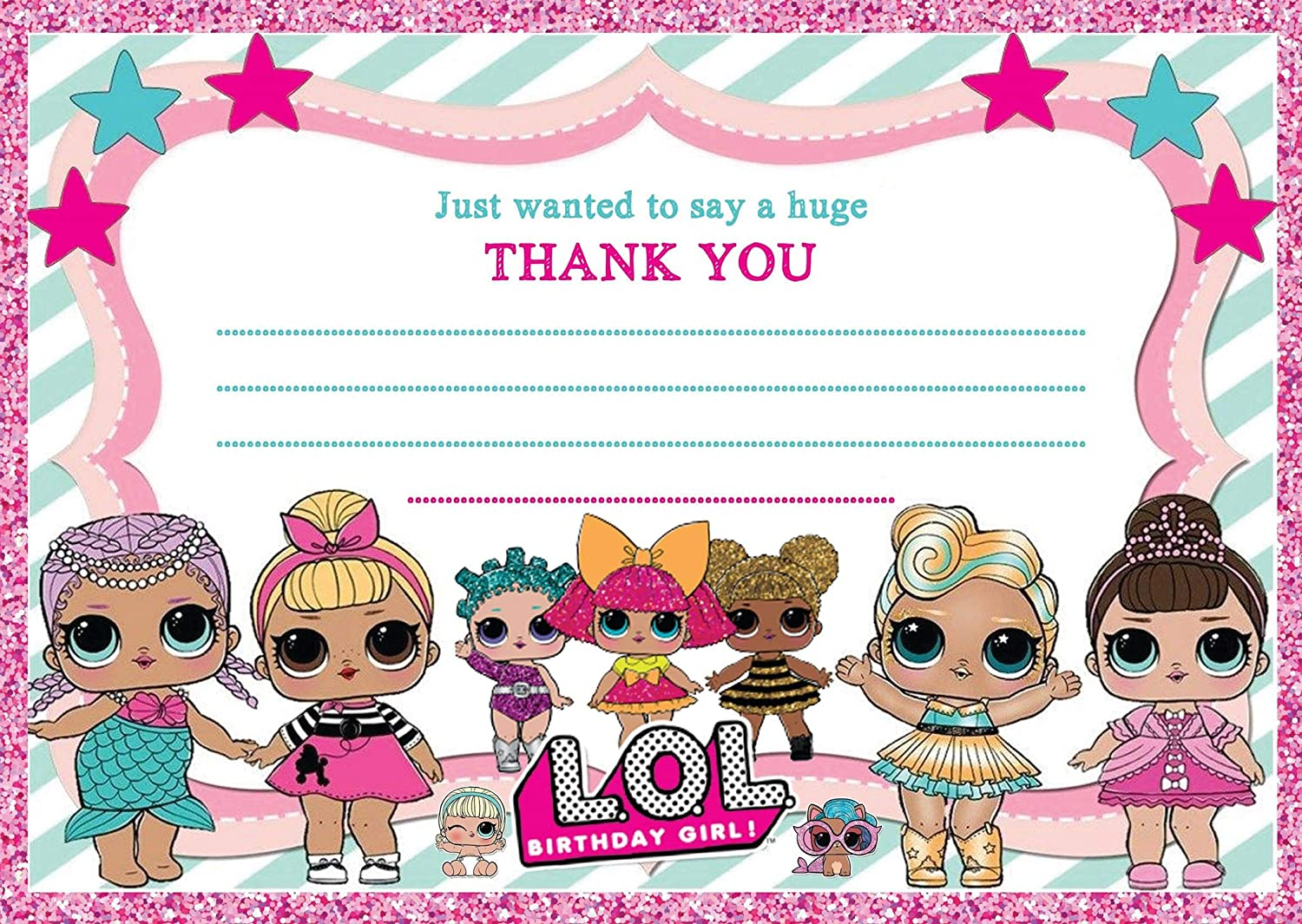 8 postcard design buddies Kids LOL Doll Party Thank you cards /& Envelopes,LOL Doll thank you notes Thick 250GSM cards A6-
