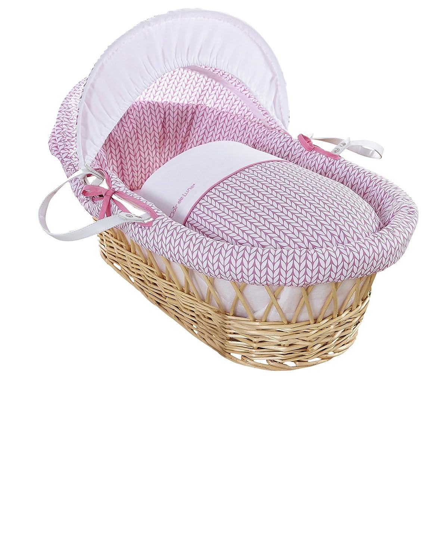 Clair de Lune, collezione Barley Bébé, culla di vimini naturale. Lenzuola, materasso e cappotta regolabile (colore rosa) CL5771NPK