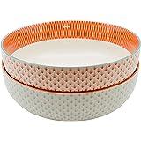 Nicola Spring Large Patterned Fruit/Salad Bowl - 1x Light Blue & 1x Coral/Orange Geometric Design - 284mm - Box of 2