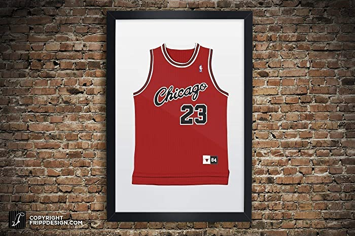 bc90efb8d2c ... germany vintage michael jordan chicago bulls jersey illustration  premium print paper or large giclee sports memorabilia