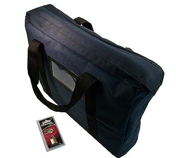 Bolso estilo maletín con cerradura resistente al fuego (azul marino): Amazon.es: Oficina y papelería