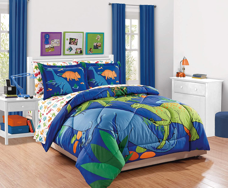 Elegant Home Multicolor Blue Green Orange Dinosaurs Design 7 Piece Comforter Bedding Set for Boys/Kids Bed in a Bag with Sheet Set # New Dinosaur (Full Size)