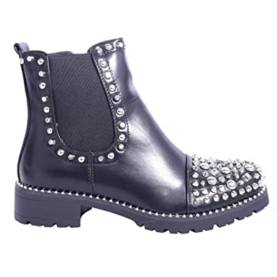 15d91155842a Womens Ladies Black Chelsea Boots Studded Toe Elasticated Comfort Silver  Trim Zip Casual AW18 Ankle Booties Shoes Size  Amazon.co.uk  Shoes   Bags