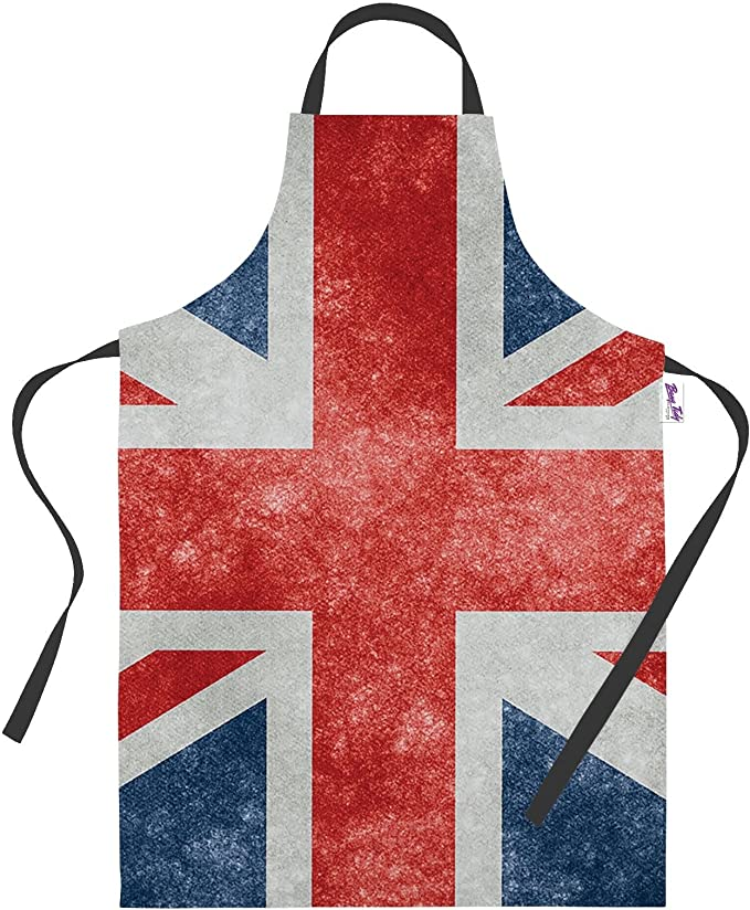 NEW Red White Blue Mens Ladies Union Jack Cotton Apron Kitchen Chef Cooks Gift