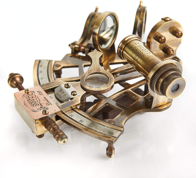 V.Empire Handicraft Nautical Marine Navigation Sextant Brass | Sailing Ship Decor | Indiana Jones Antique Brass Miniature Decorative Birthdays Housewarming Astronomy Gift | in Box