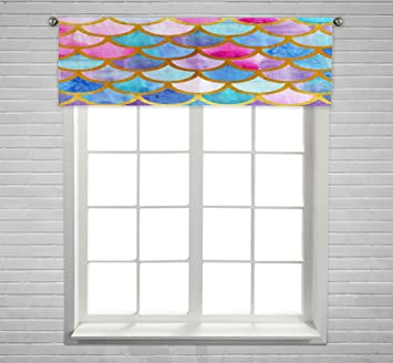 Kxmdxa Mermaid Scales Fish Scales Bright Summer Window Curtain Valance For Kitchen Bedroom Decor With Rod Pocket Size 54x18 Inch Furniture Decor