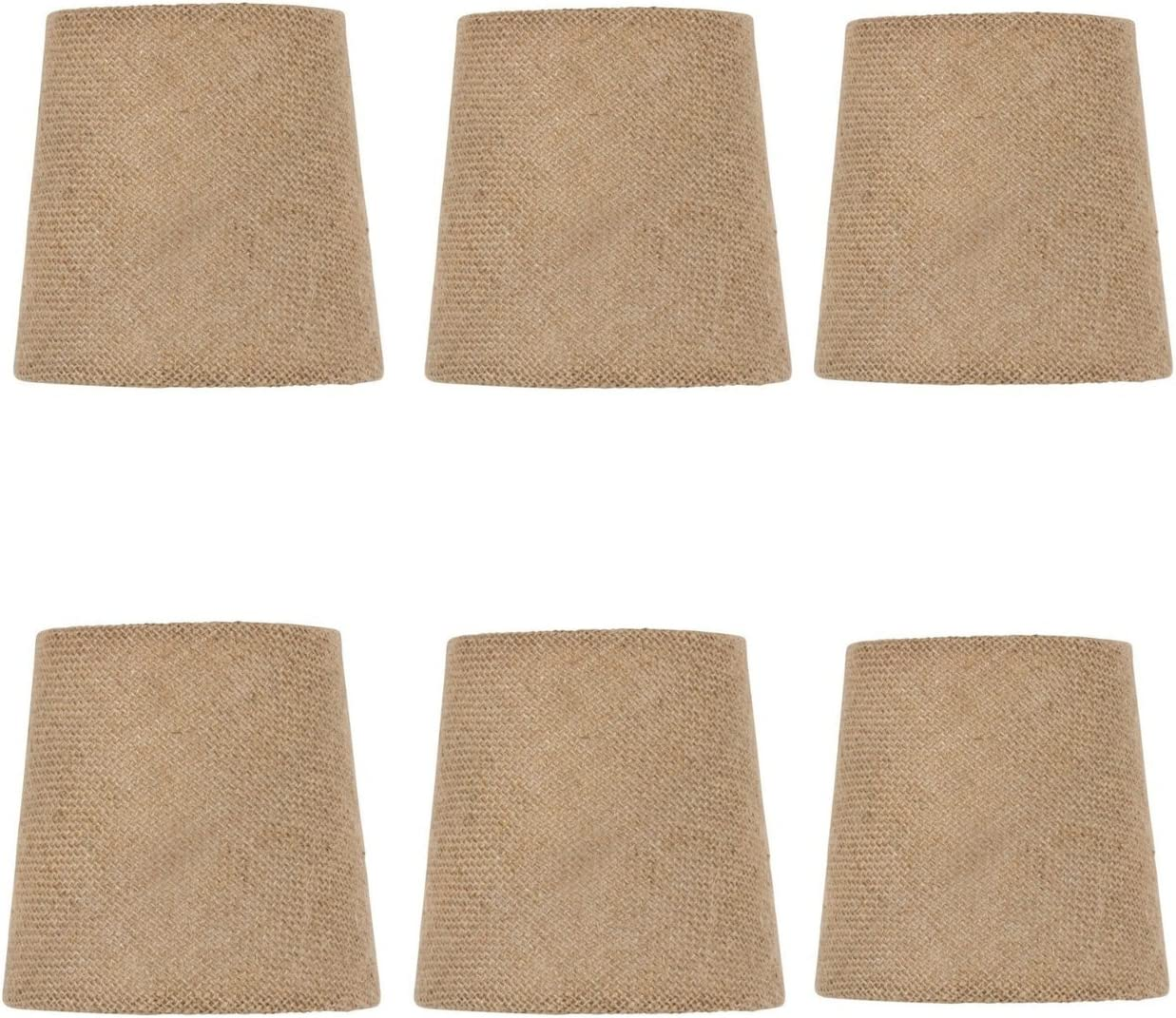 Upgradelights Set of Six – 4 Inch European Drum Style Chandelier Lamp Shades in Natural Burlap Fabric 3x4x4