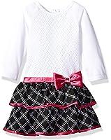Youngland Little Girls' Crochet Bodice Knit To Woven Plaid Dress