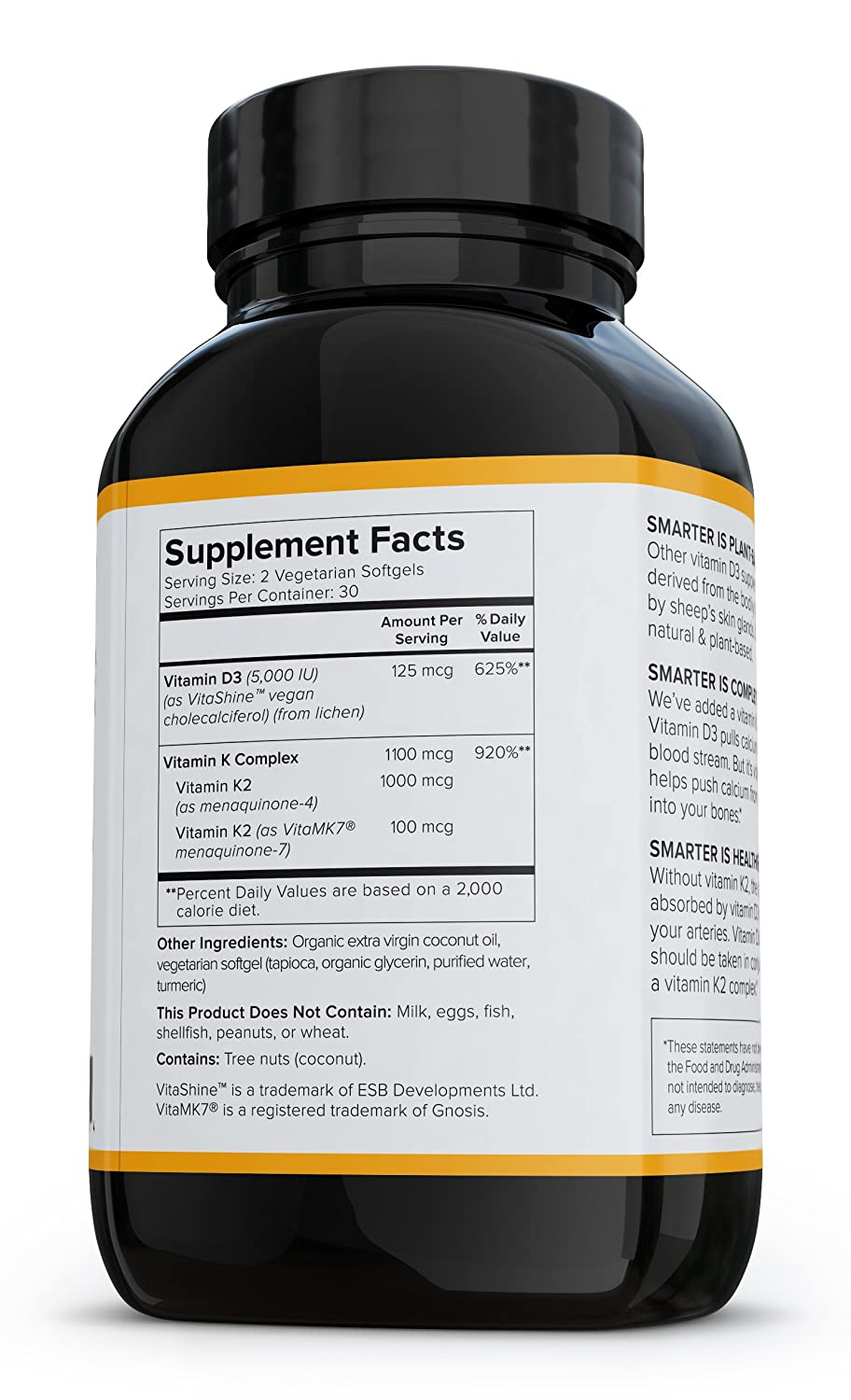 Amazon.com: Smarter Nutrition Plant-Based Vitamin D3 with K2 Complex for Healthy Bones and Arteries, Vegetarian Softgels (3 Month Supply): Health & Personal ...