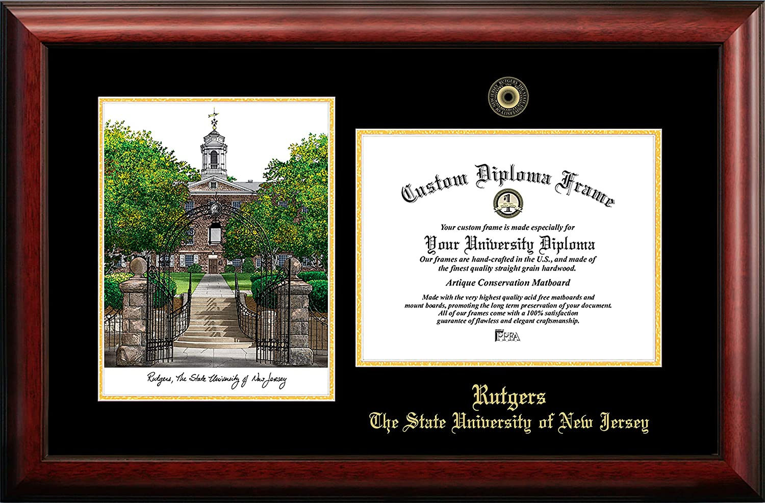 11w x 8.5h Gold Embossed Diploma Frame Lithograph The State University of New Jersey Campus Images Rutgers University