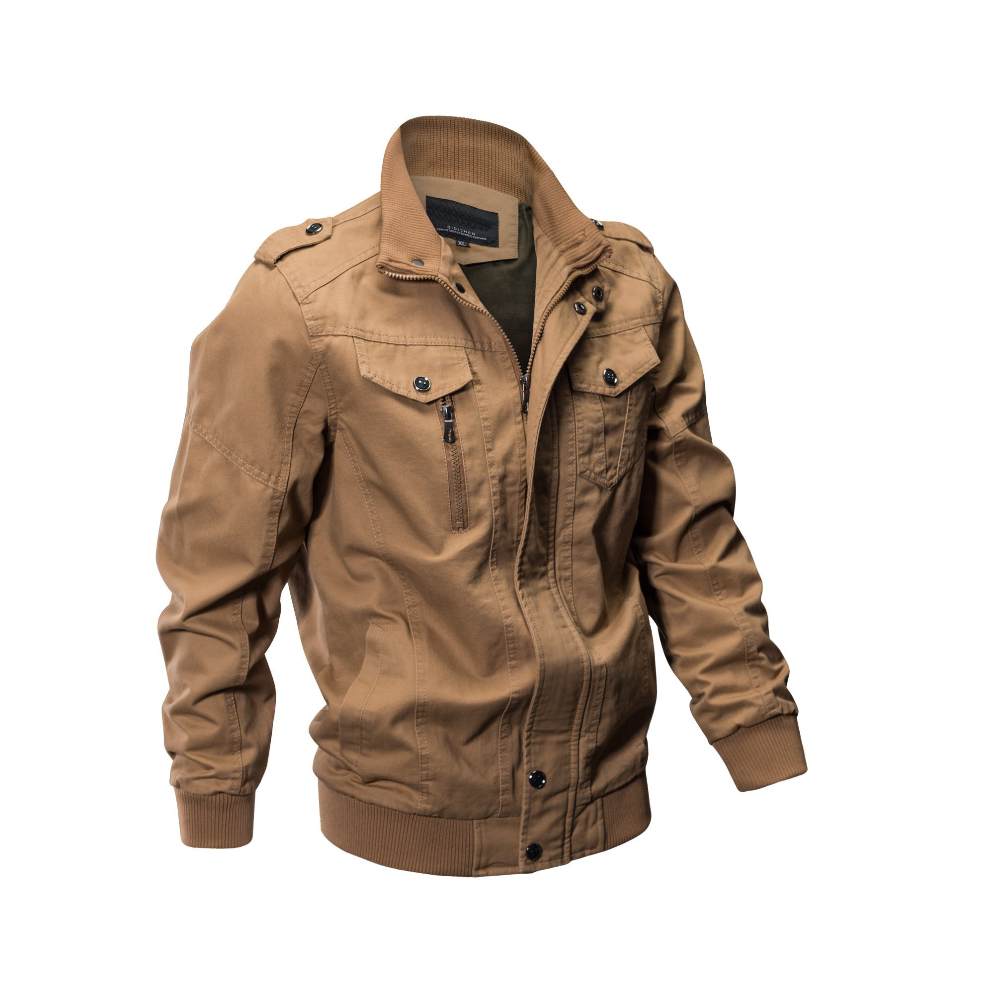 ZooYung Men's Casual Winter Cotton Military Jackets Outdoor Coat windproof windbreaker(2701-Khaki-XL) by ZooYung
