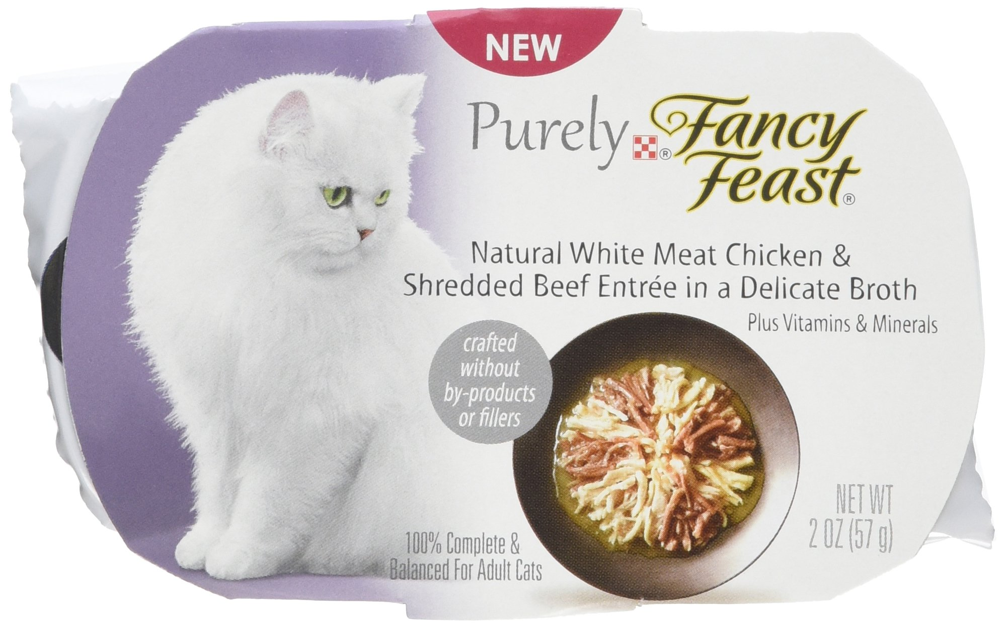 Purina Fancy Feast Fancy Feast Appetizers Natural White Meat Chicken and Shredded Beef Cat Food, 2-Ounce Pouch, Pack of 10