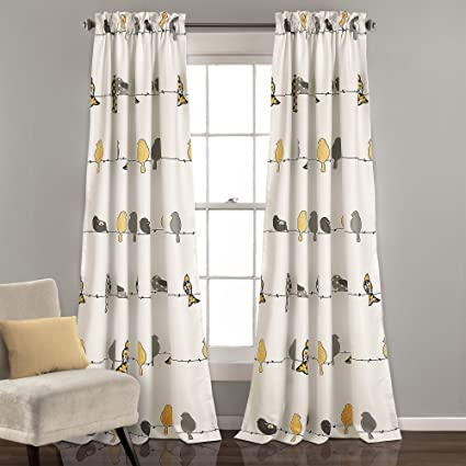 7943341076e5b0 Lush Decor Rowley Birds Room Darkening Window Curtains Panel Set for Living  Room, Dining Room
