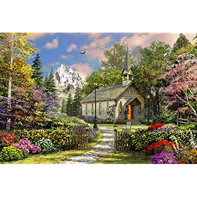 Springbok's 500 Piece Jigsaw Puzzle Mountain View Chapel: Toys & Games