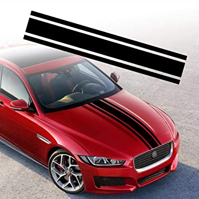 "TOMALL 49""x 8.7"" Car Hood Stripe Sticker Auto Racing Body Side Stripe Decal Skirt Roof Hood Bumper Stripe Decal Vinyl Modified Stripe Decal Decoration for Car (Black): Arts, Crafts & Sewing"