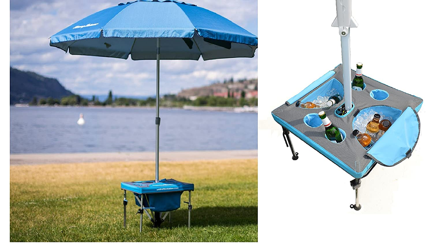 Amazon.com: Umbrella Station with Beach Umbrella - Anchor your Beach  Umbrella, cool your drinks in the ice cooler. Works with all beach umbrellas  including ...