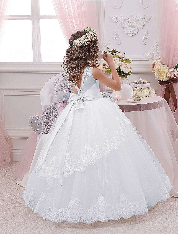 Amazon.com: Carat Fancy Lace Floral Appliques Sleeveless Flower Girl Dresses: Clothing