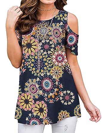 2dd86b94f5fb4 Amazon.com  ZJP Women Casual Short Sleeve Cold Shoulder Floral Print Shirt  Tops Blouse Tunic  Clothing