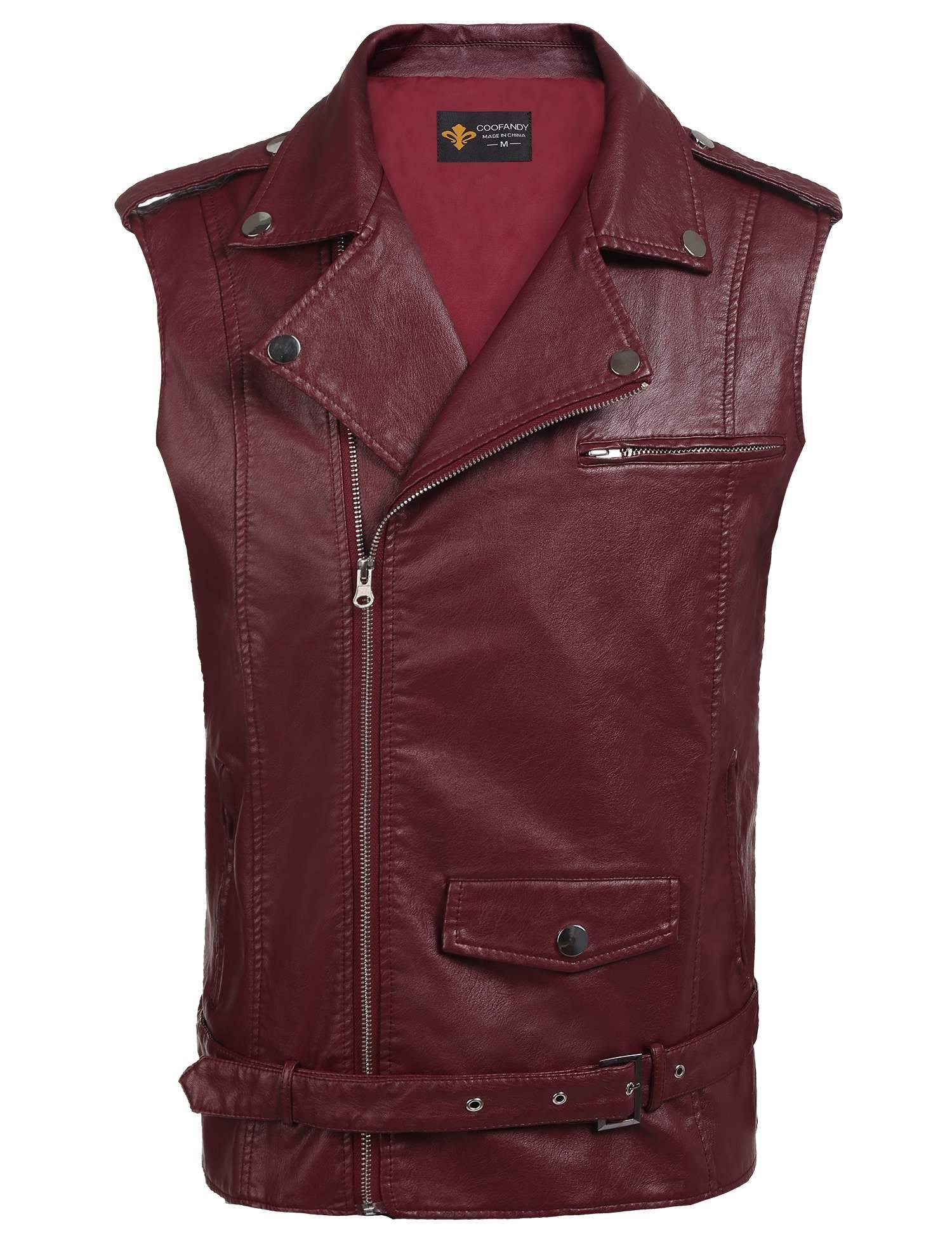 JINIDU Mens Hipster Leather Vest Retro Motorcycle Racer Leather Jacket Vests with Gun Pocket(Wine Red,XL)