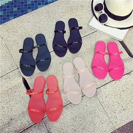 4dd76781349a4 Baiyu Women s Sandals Summer Beach Shoes Slippers Sandals Flat Heel Flip  Flops Plastic Fashion Casual Femal Shoes 5 Colors Optional  Amazon.ca   Sports   ...