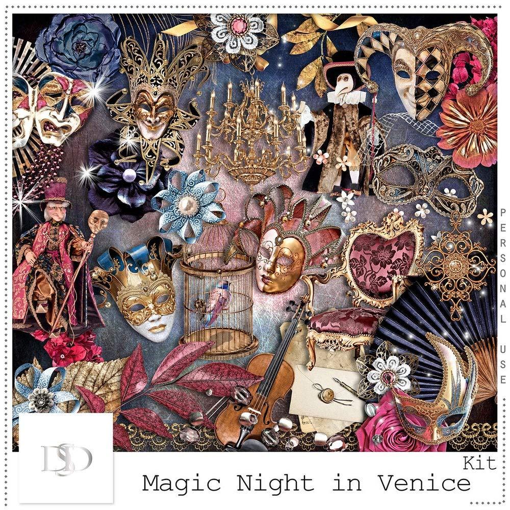 bestposterart Magic Night in Venice - Digital Scrapbooking Kit - Vintage - Scrapbook - Imprimable Frame