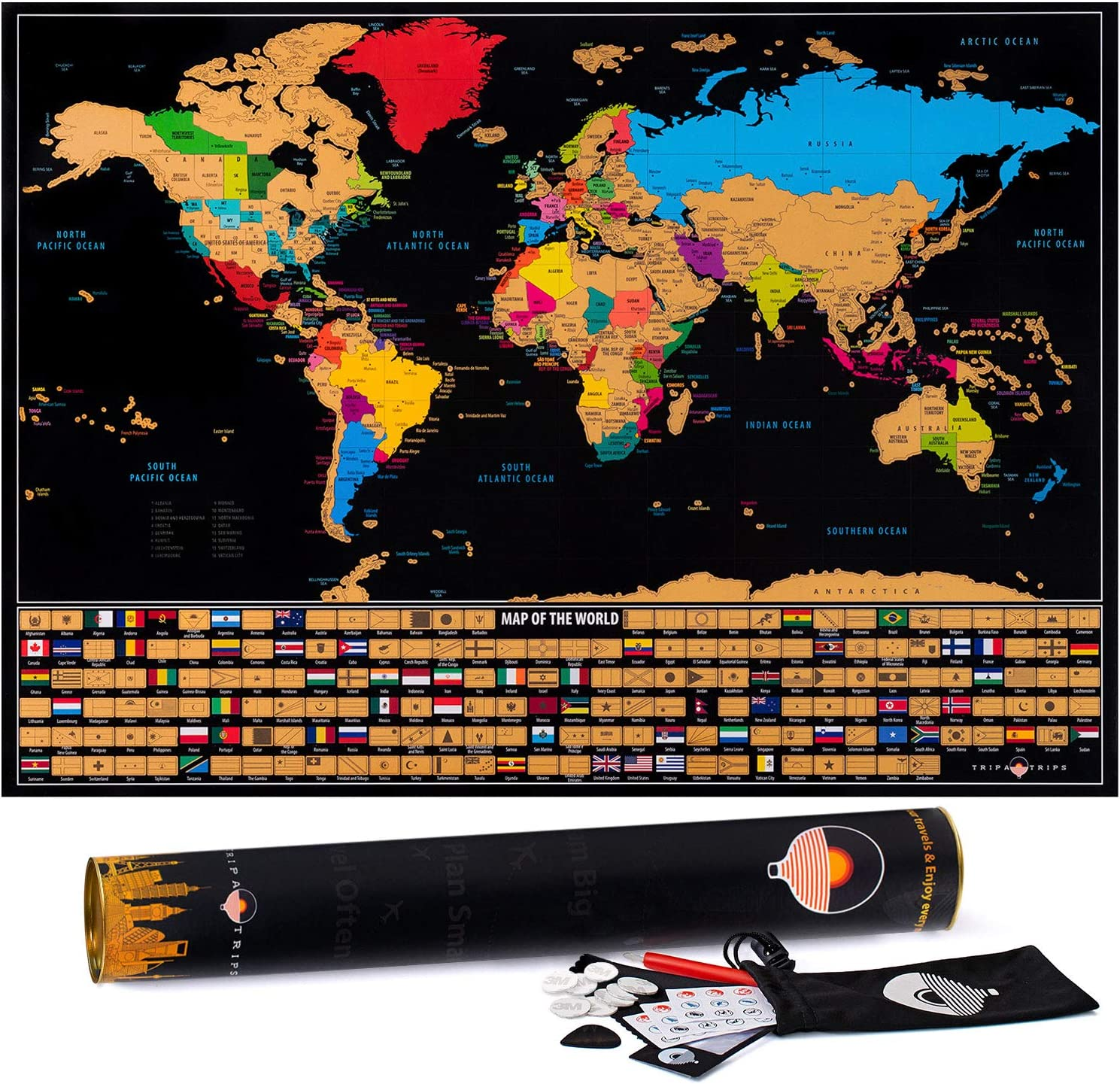 24 x 17 Easy to Frame Scratch Off World Map Wall Art Poster with US States /& Flags Scratch Off Map of The World with Flags Deluxe World Map Scratch Off Travel Map Designed for Travelers