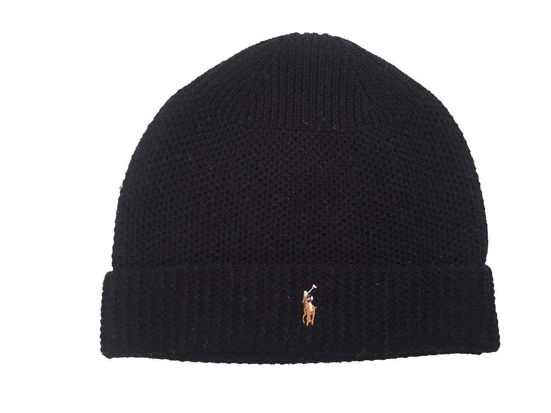 c341f5bec35 Polo Ralph Lauren Men`s Waffle Knit Merino Wool Hat  (Black(PP0017-001) White