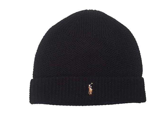 bdc0c15a06c97 Polo Ralph Lauren Men`s Waffle Knit Merino Wool Hat  (Black(PP0017-001) White