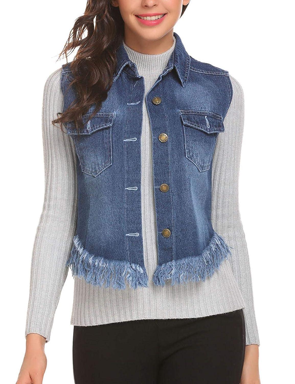 Zeagoo Womens Fray Hem Jean Vest Flap Pockets Buttoned Washed Denim Jacket