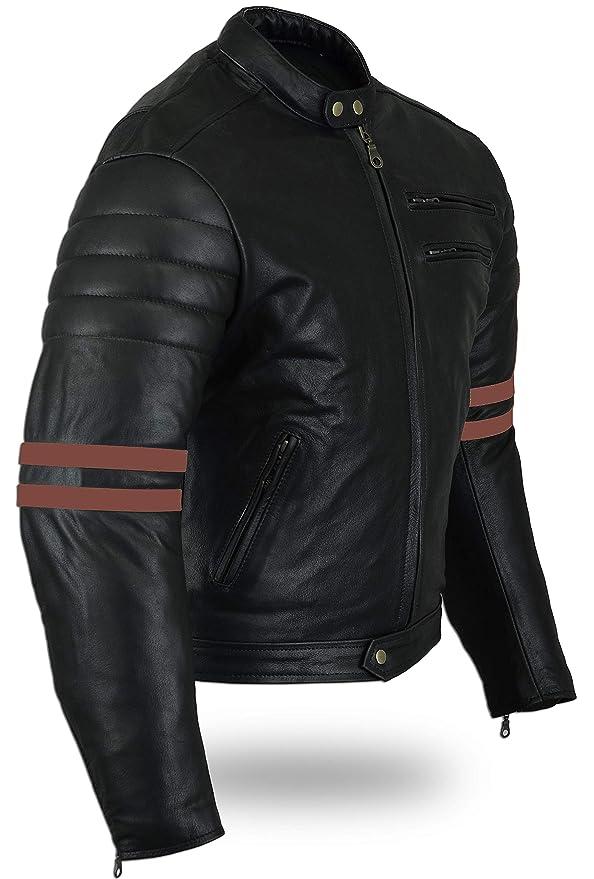 Australian Bikers Gear chaqueta moto Cafe Racer en color negro envejecido y rayas rojas oxblow con protecciones homologadas y extraíbles en talla 3xl