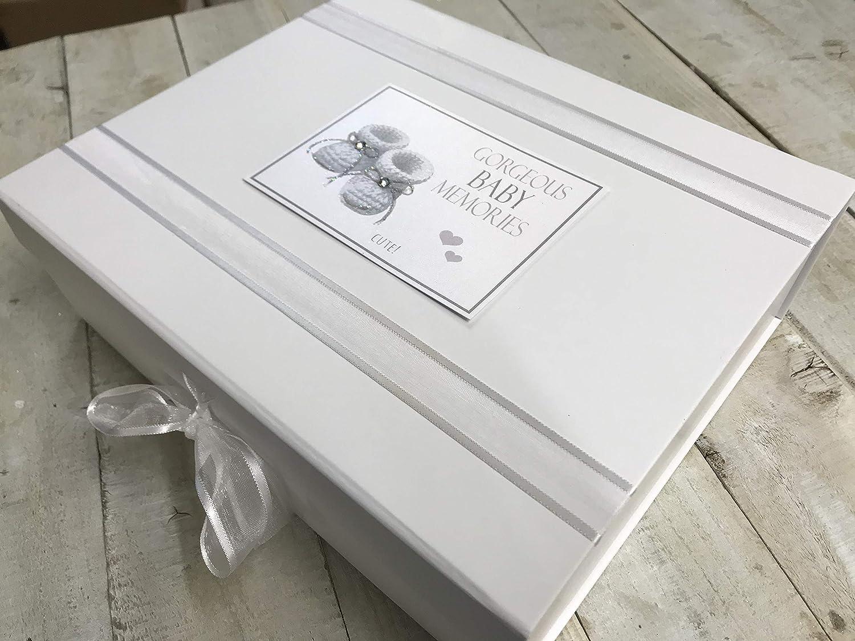 grande, Plata Algod/ón blanco Tarjetas Gorgeous beb/é Recuerdos Album cajas de joyas