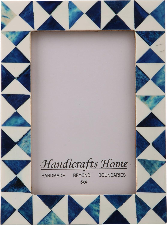 Picture Photo Frame Indigo Moorish Quatrefoil Handmade Naturals Bone Frames Photo Size 4x6 Indigo-3