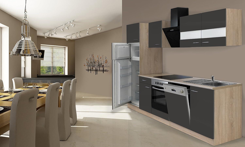 respekta Cocina Completa, 280 cm, Incluye Nevera y congelador, vitrocerámica, lavavajillas
