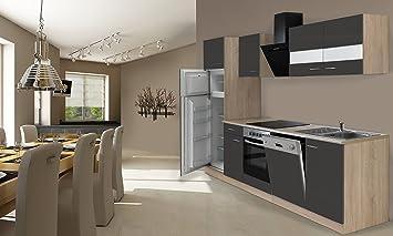 respekta Cocina Completa, 280 cm, Roble, Incluye Nevera y congelador, vitrocerámica &