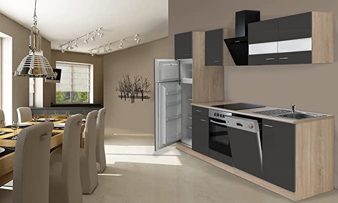 respekta Cocina Completa, 280 cm, Roble, Incluye Nevera y congelador, vitrocerámica & lavavajillas: Amazon.es: Hogar