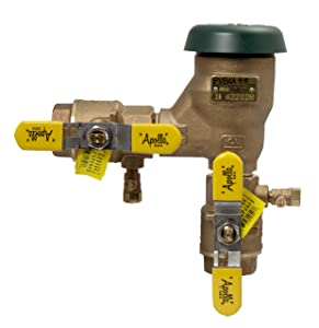 "Apollo 4A50502F Bronze Freeze Resistant Pressure Vacuum Breaker with Ball Valve and SAE Threaded Test Cocks, 1"" Size"
