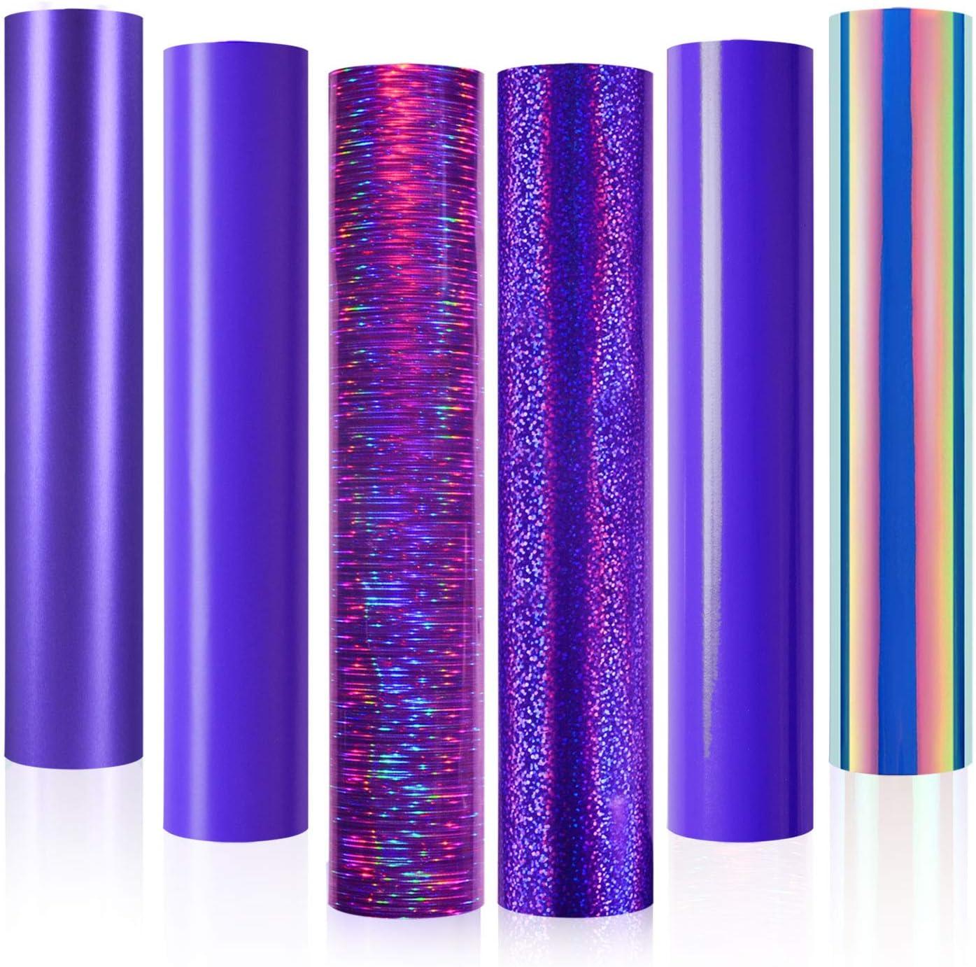 Purple Vinyl,Holographic Opal Chrome Purple Adhesive Craft Vinyl, Permanent Purple Vinyl Sheets 12 Inch X 12 Inch ,6 Sheets for Cricut and Silhouette, Cameo,Purple