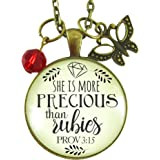 """24"""" She is More Precious Than Rubies Christian Womens Necklace Proverbs Vintage Style Jewelry Bronze Glass Round Pendant Butterfly Charm Rose Chain"""